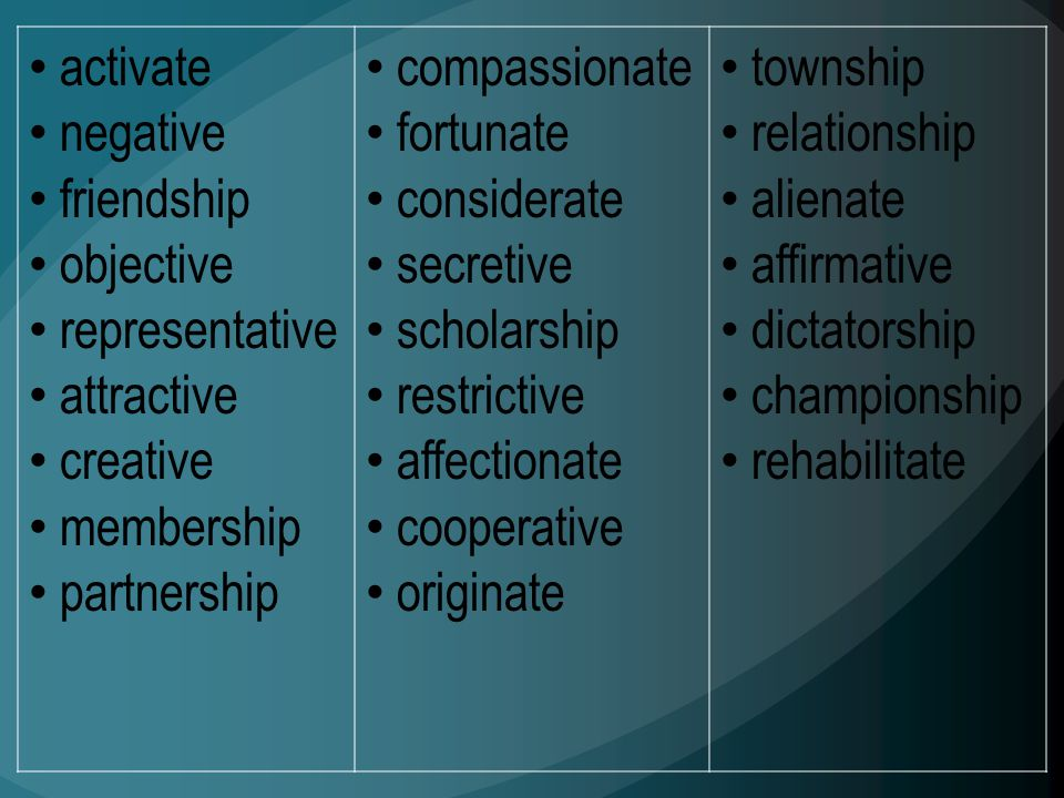 activate negative friendship objective representative attractive creative membership partnership compassionate fortunate considerate secretive scholar