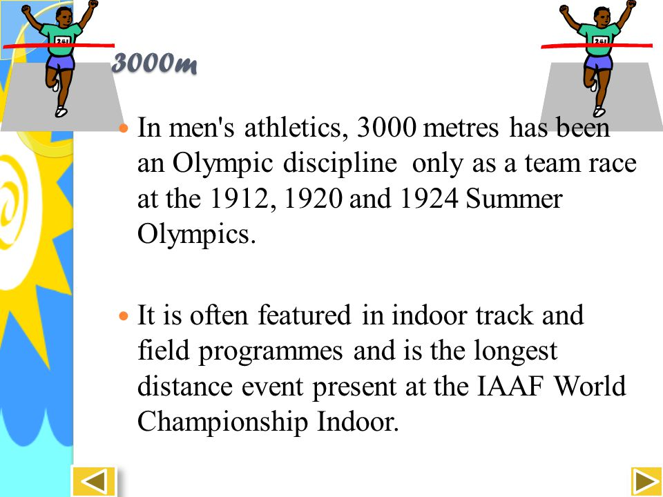 3000m Race The 3000 m requires some anaerobic conditioning and an elite athlete needs to develop a high tolerance to lactic acid, as does the 1500 m.