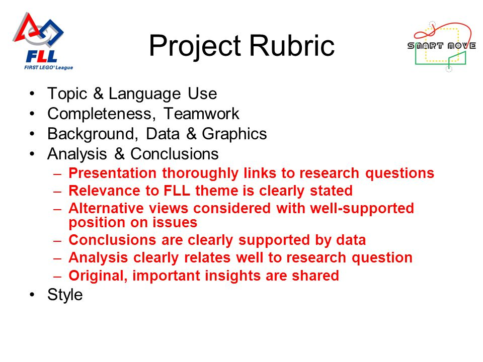 Project Rubric Topic & Language Use Completeness, Teamwork Background, Data & Graphics Analysis & Conclusions –Presentation thoroughly links to research questions –Relevance to FLL theme is clearly stated –Alternative views considered with well-supported position on issues –Conclusions are clearly supported by data –Analysis clearly relates well to research question –Original, important insights are shared Style