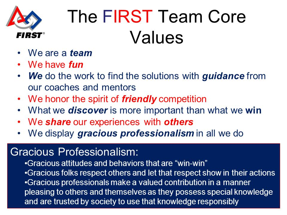 The FIRST Team Core Values We are a team We have fun We do the work to find the solutions with guidance from our coaches and mentors We honor the spirit of friendly competition What we discover is more important than what we win We share our experiences with others We display gracious professionalism in all we do Gracious Professionalism: Gracious attitudes and behaviors that are win-win Gracious folks respect others and let that respect show in their actions Gracious professionals make a valued contribution in a manner pleasing to others and themselves as they possess special knowledge and are trusted by society to use that knowledge responsibly