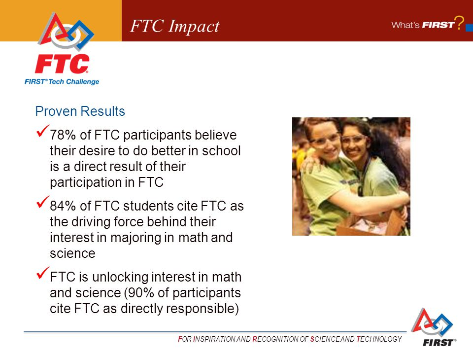 F OR I NSPIRATION AND R ECOGNITION OF S CIENCE AND T ECHNOLOGY FTC Impact Proven Results 78% of FTC participants believe their desire to do better in school is a direct result of their participation in FTC 84% of FTC students cite FTC as the driving force behind their interest in majoring in math and science FTC is unlocking interest in math and science (90% of participants cite FTC as directly responsible)