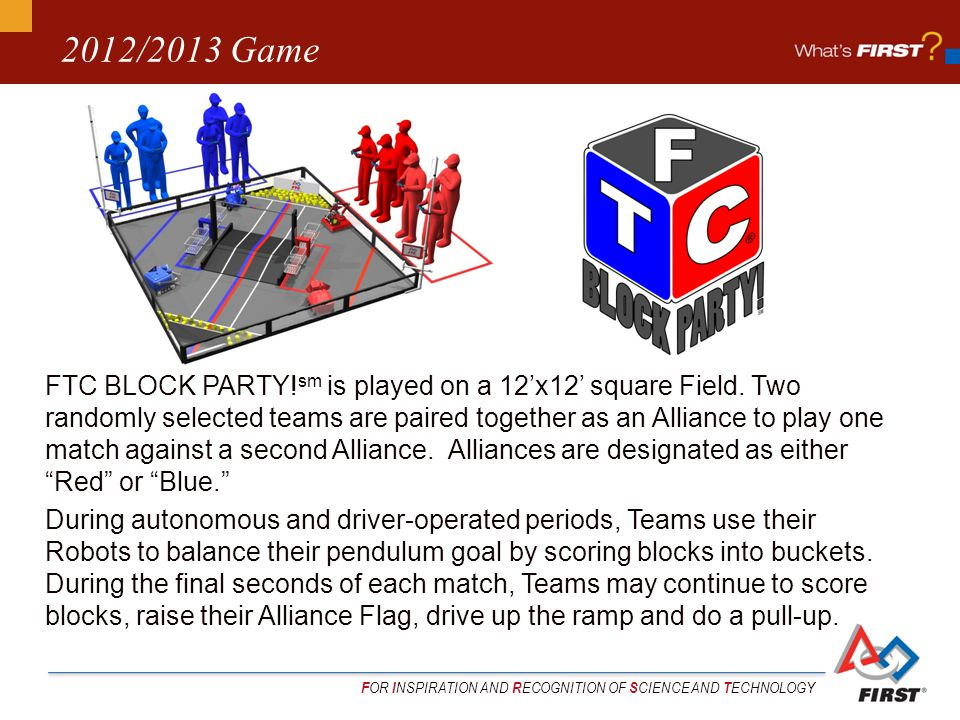 F OR I NSPIRATION AND R ECOGNITION OF S CIENCE AND T ECHNOLOGY 2012/2013 Game FTC BLOCK PARTY.