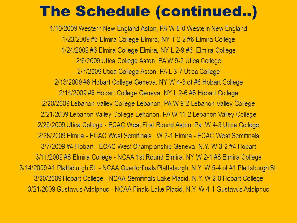 The Schedule 10/24/2008 SUNY - Geneseo Rochester, NY L 2-3 SUNY – Geneseo 10/25/2008 SUNY - Geneseo Rochester, NY W 4-3 SUNY - Geneseo 11/1/2008 Adrian College Adrian, MI W 4-2 Adrian College 11/2/2008 Adrian College Adrian, MI L 1-10 Adrian College 11/7/2008 Manhattanville College Aston, Pa W 4-2 Manhattanville College 11/8/2008 Manhattanville College Aston, Pa W 4- 3 ot Manhattanville College 11/14/2008 Elmira College Aston, Pa L 1-3 Elmira College 11/15/2008 Hobart College Aston, PA L 4-5 ot Hobart College 11/21/2008 Utica College Utica, NY W 4-1 Utica College 11/22/2008 Manhattanville College Puchase, NY T 2-2 Manhattanville College 11/29/2008 Becker College Castleton, VT.