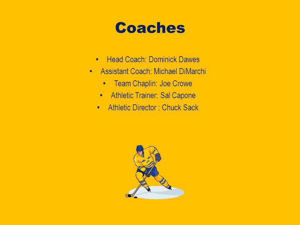 Coaches Head Coach: Dominick Dawes Assistant Coach: Michael DiMarchi Team Chaplin: Joe Crowe Athletic Trainer: Sal Capone Athletic Director : Chuck Sack