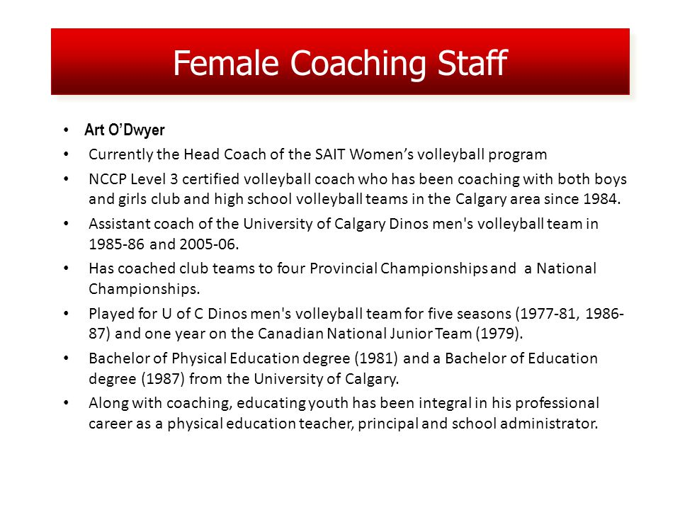 Female Coaching Staff Art ODwyer Currently the Head Coach of the SAIT Womens volleyball program NCCP Level 3 certified volleyball coach who has been coaching with both boys and girls club and high school volleyball teams in the Calgary area since 1984.