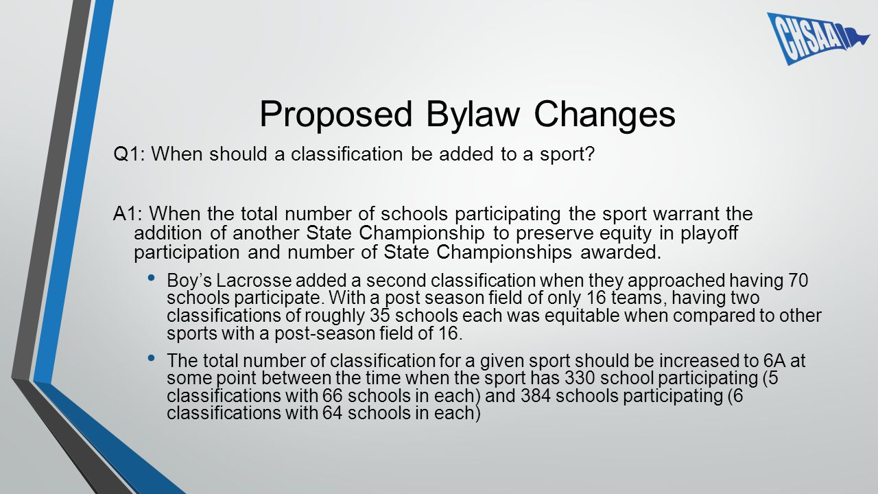 Proposed Bylaw Changes Q1: When should a classification be added to a sport.