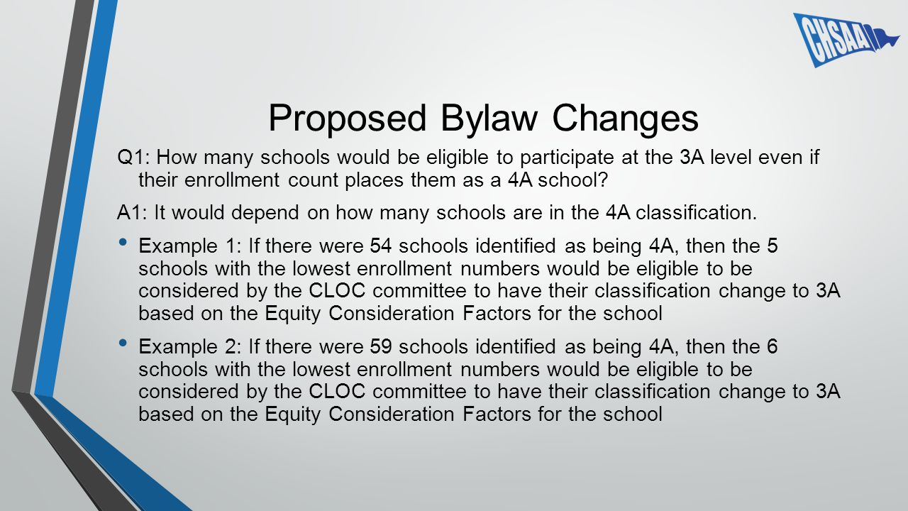 Proposed Bylaw Changes Q1: How many schools would be eligible to participate at the 3A level even if their enrollment count places them as a 4A school.