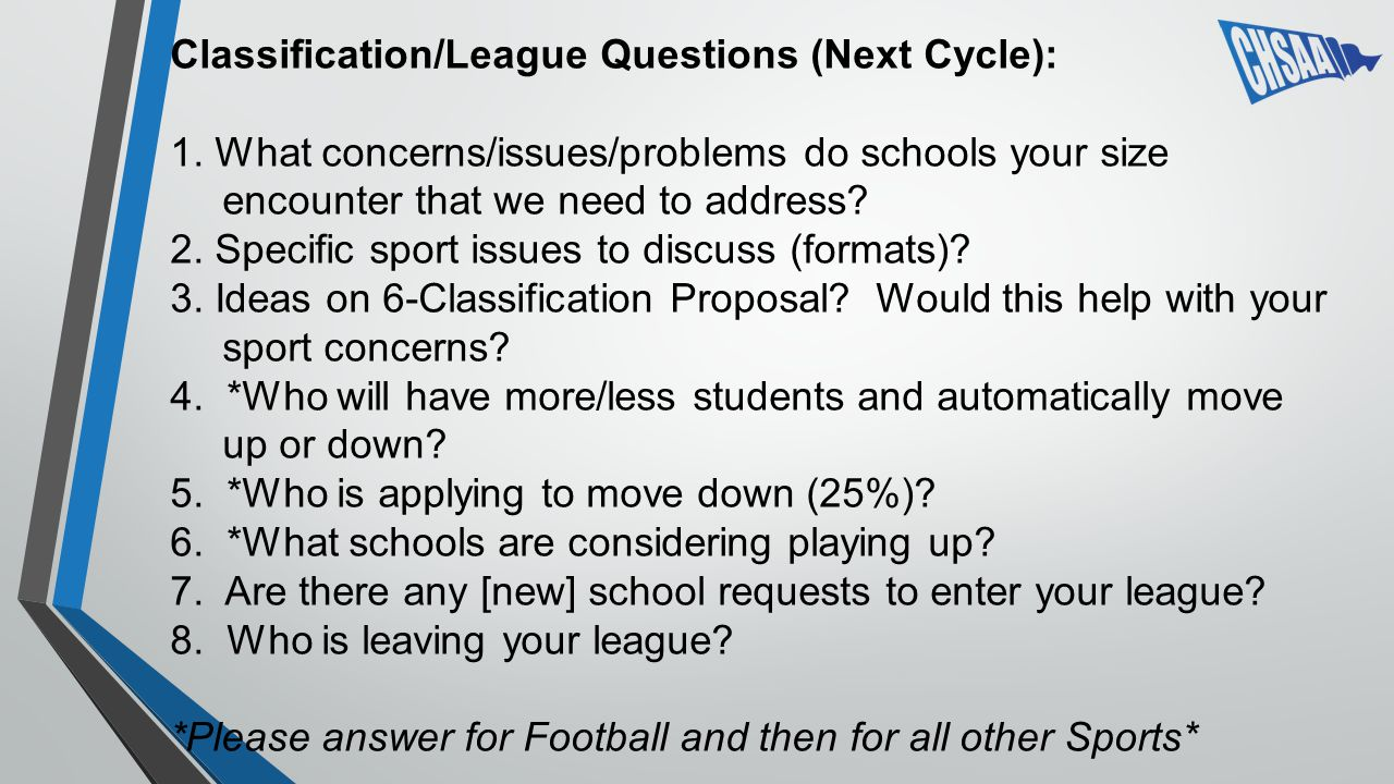 Classification/League Questions (Next Cycle): 1.