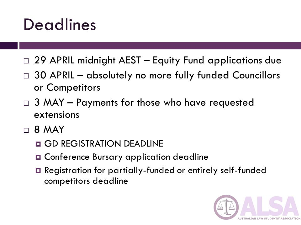 Deadlines 29 APRIL midnight AEST – Equity Fund applications due 30 APRIL – absolutely no more fully funded Councillors or Competitors 3 MAY – Payments