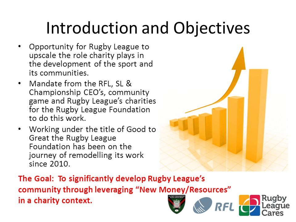 Introduction and Objectives Opportunity for Rugby League to upscale the role charity plays in the development of the sport and its communities.