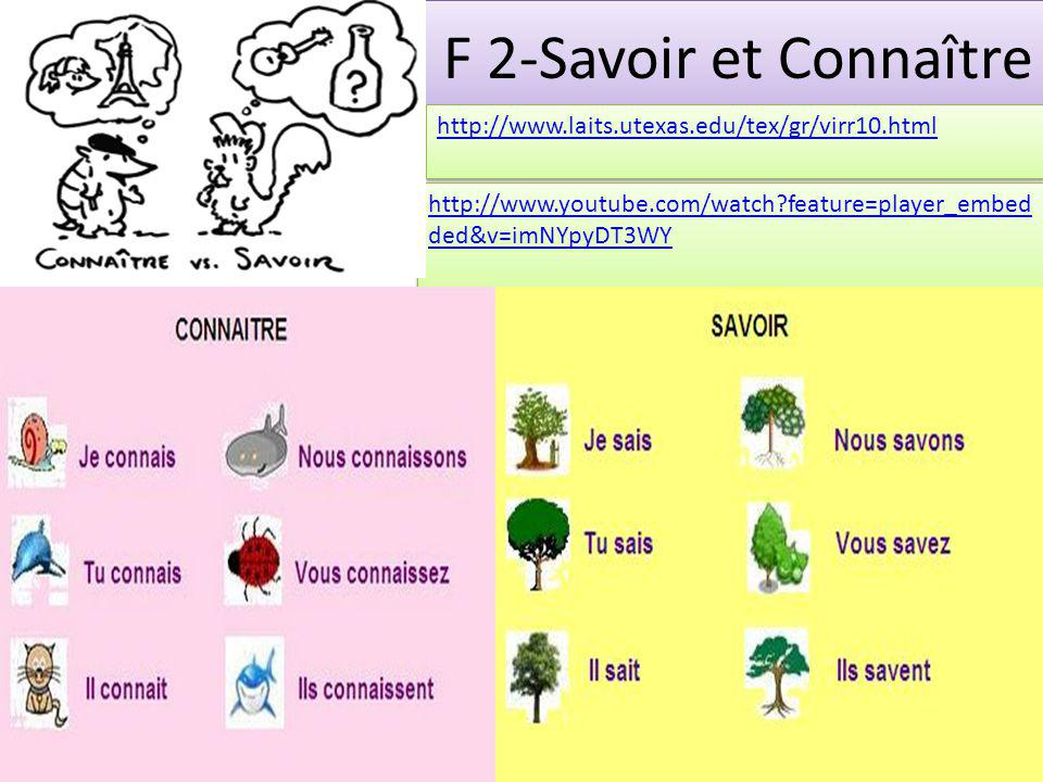 F 2-Savoir et Connaître http://www.laits.utexas.edu/tex/gr/virr10.html http://www.youtube.com/watch feature=player_embed ded&v=imNYpyDT3WY http://www.youtube.com/watch feature=player_embed ded&v=imNYpyDT3WY
