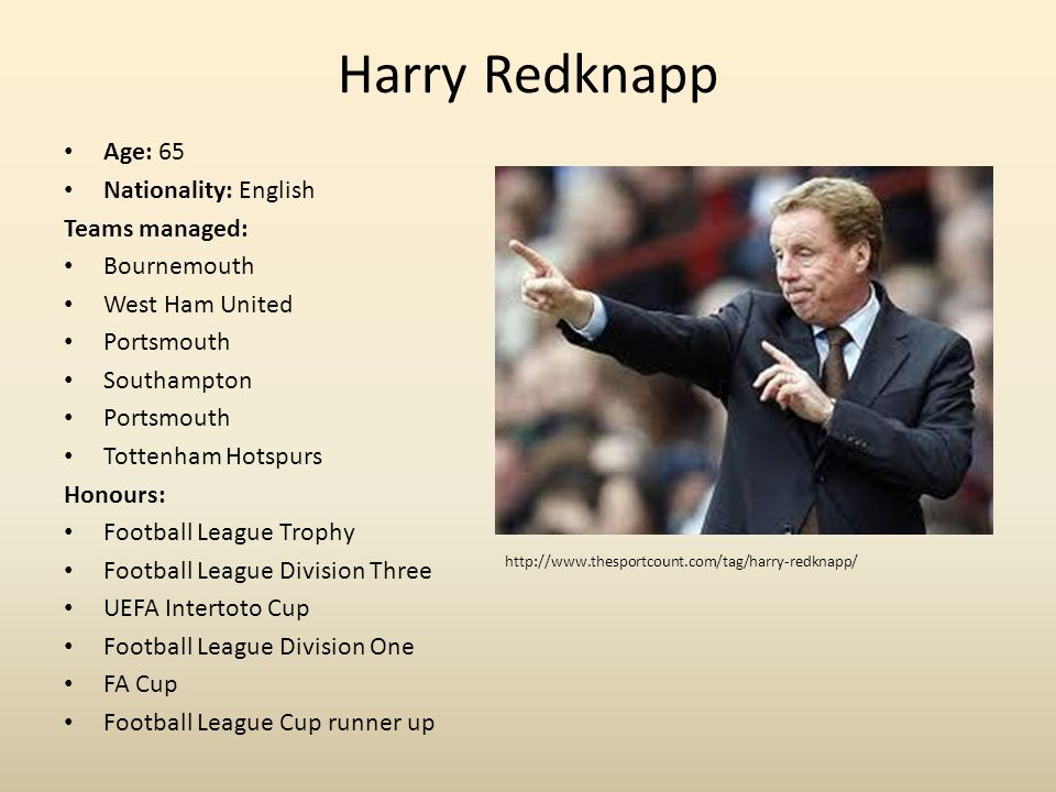 Harry Redknapp Age: 65 Nationality: English Teams managed: Bournemouth West Ham United Portsmouth Southampton Portsmouth Tottenham Hotspurs Honours: Football League Trophy Football League Division Three UEFA Intertoto Cup Football League Division One FA Cup Football League Cup runner up http://www.thesportcount.com/tag/harry-redknapp/