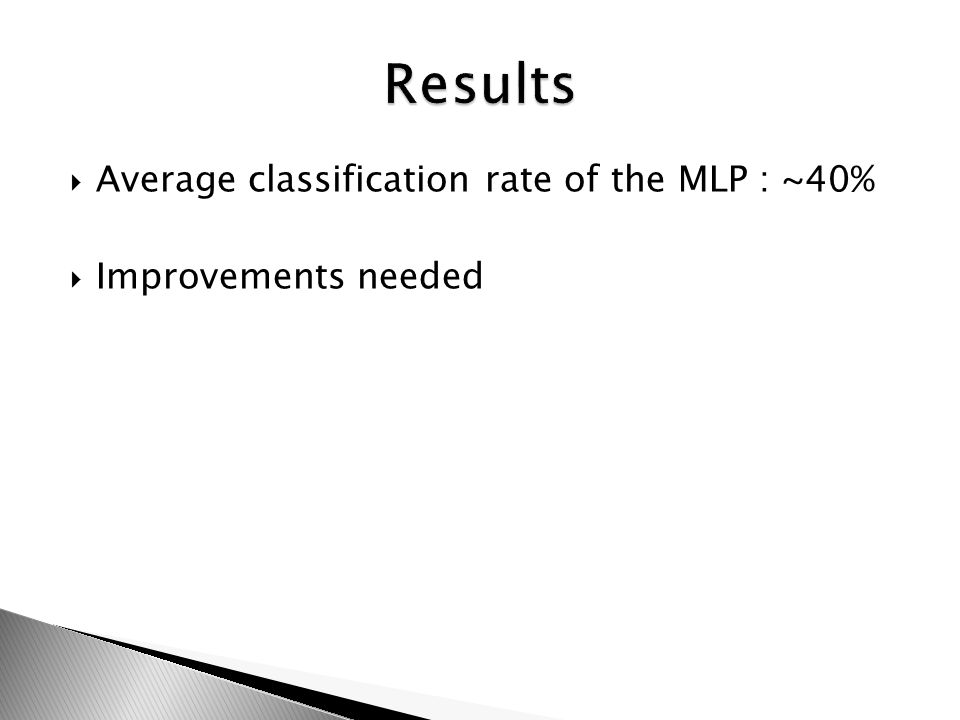 Average classification rate of the MLP : ~40% Improvements needed