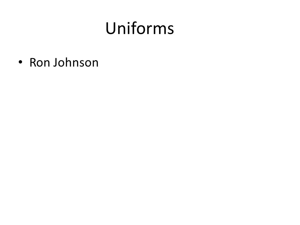 Uniforms Ron Johnson