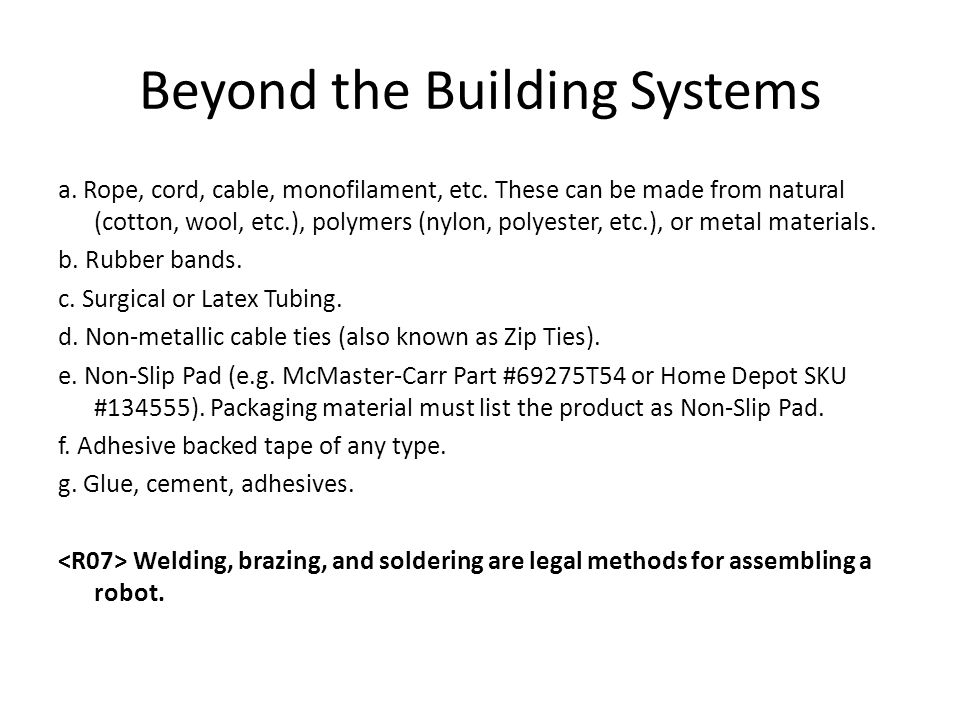 Beyond the Building Systems a. Rope, cord, cable, monofilament, etc. These can be made from natural (cotton, wool, etc.), polymers (nylon, polyester,