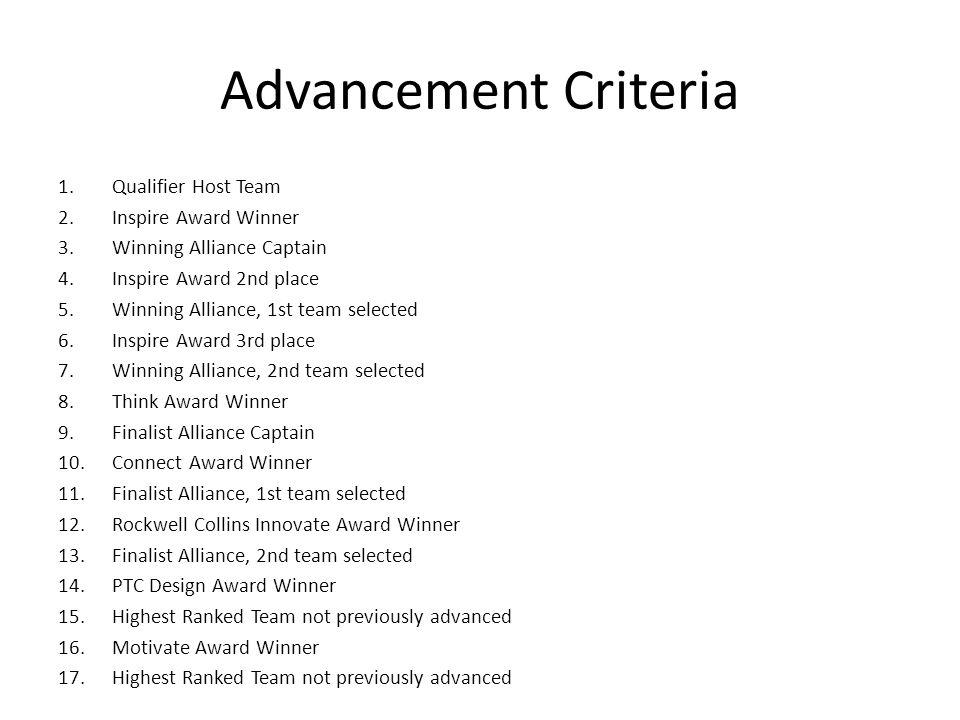 Advancement Criteria 1.Qualifier Host Team 2.Inspire Award Winner 3.Winning Alliance Captain 4.Inspire Award 2nd place 5.Winning Alliance, 1st team se