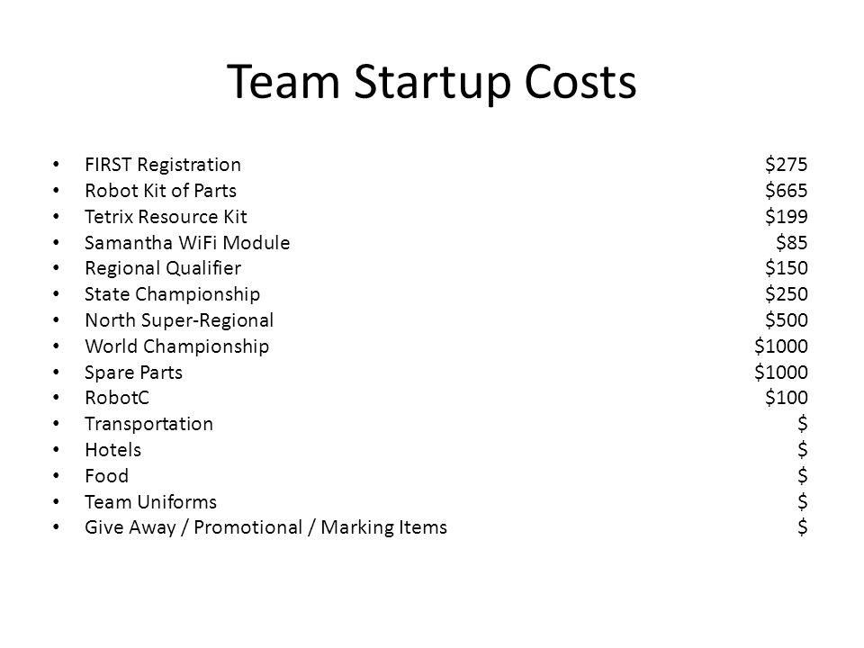 Team Startup Costs FIRST Registration$275 Robot Kit of Parts$665 Tetrix Resource Kit$199 Samantha WiFi Module$85 Regional Qualifier$150 State Champion