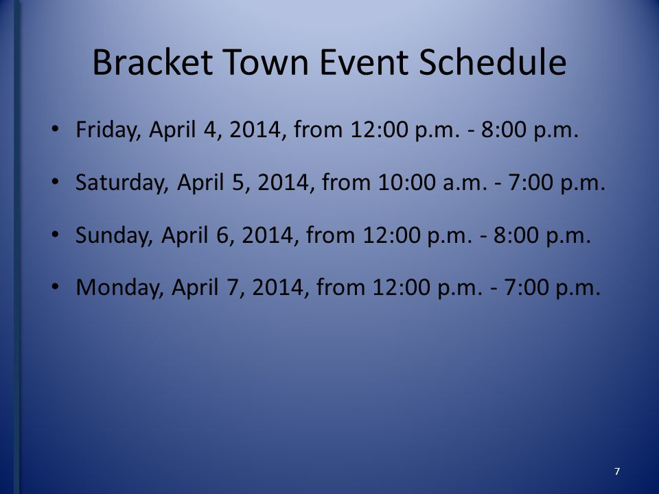 Bracket Town Event Schedule Friday, April 4, 2014, from 12:00 p.m.
