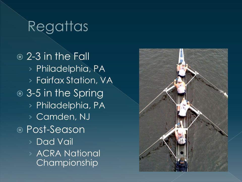 2-3 in the Fall Philadelphia, PA Fairfax Station, VA 3-5 in the Spring Philadelphia, PA Camden, NJ Post-Season Dad Vail ACRA National Championship