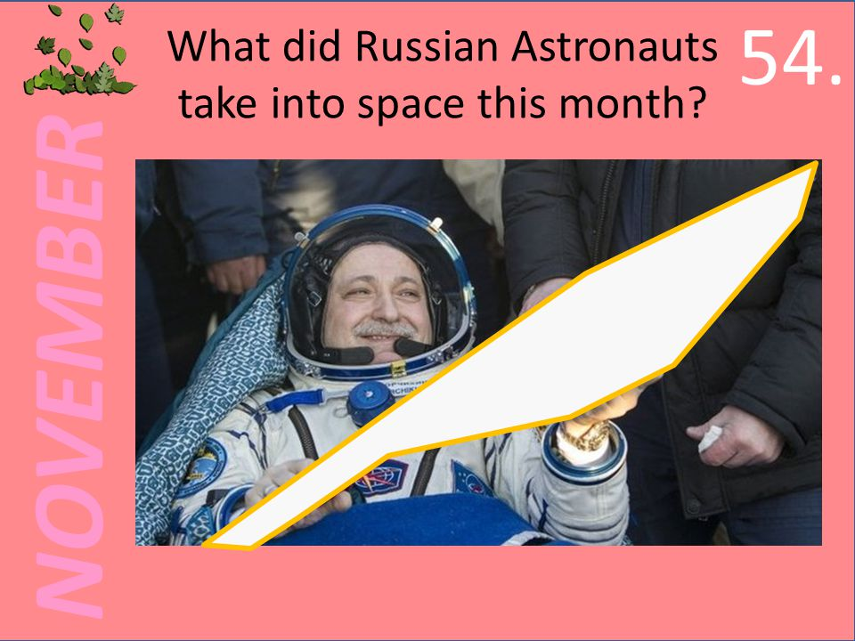 NOVEMBER What did Russian Astronauts take into space this month 54.