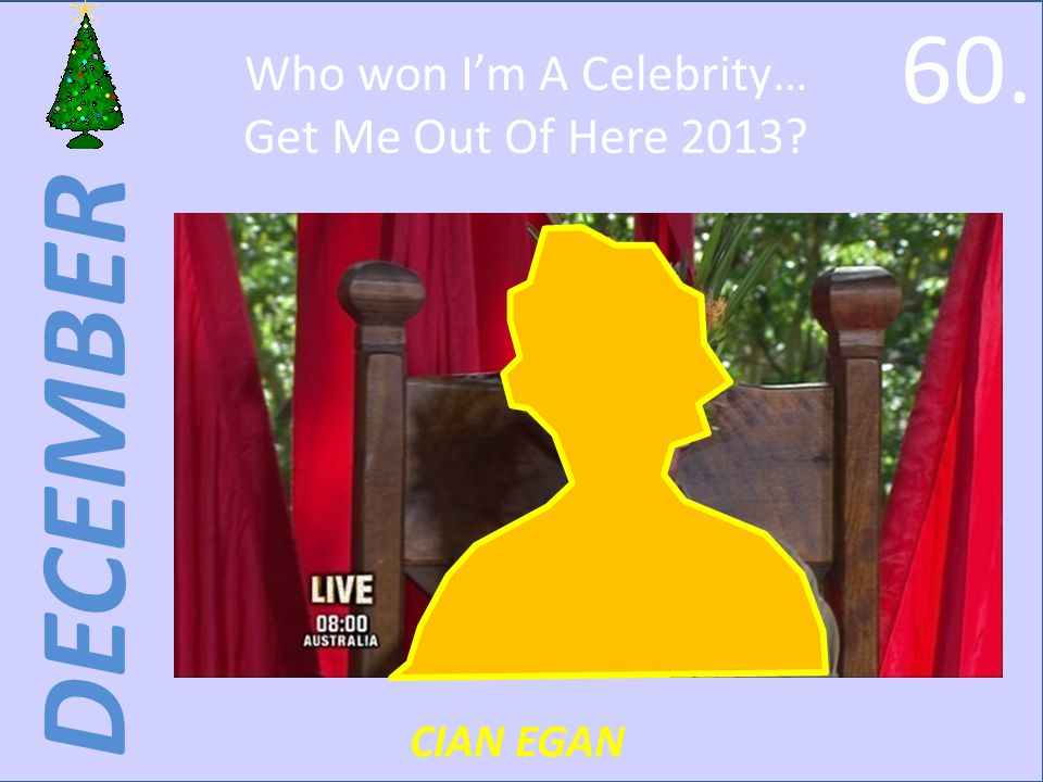DECEMBER Who won Im A Celebrity… Get Me Out Of Here 2013 CIAN EGAN 60.