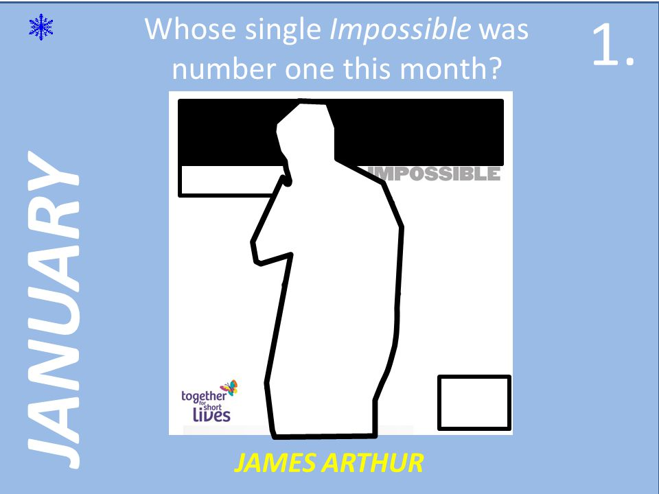 JANUARY Whose single Impossible was number one this month JAMES ARTHUR 1.