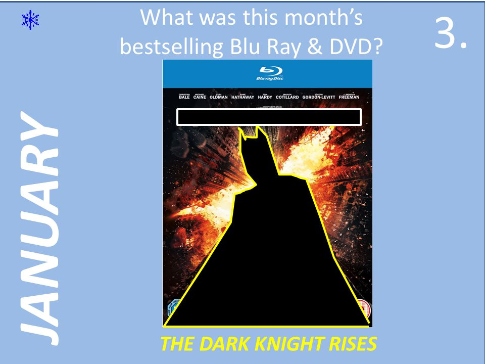JANUARY What was this months bestselling Blu Ray & DVD THE DARK KNIGHT RISES 3.