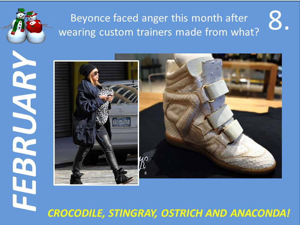 FEBRUARY Beyonce faced anger this month after wearing custom trainers made from what.