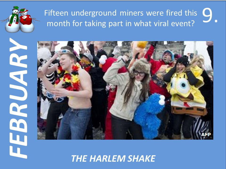FEBRUARY Fifteen underground miners were fired this month for taking part in what viral event.
