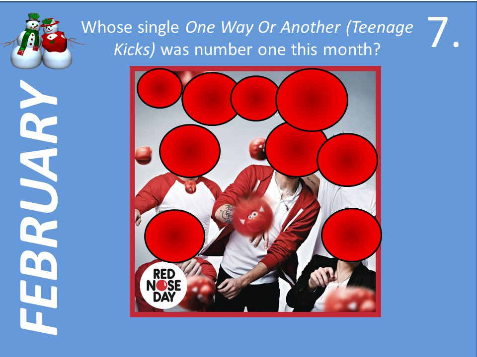 FEBRUARY Whose single One Way Or Another (Teenage Kicks) was number one this month 7.7.