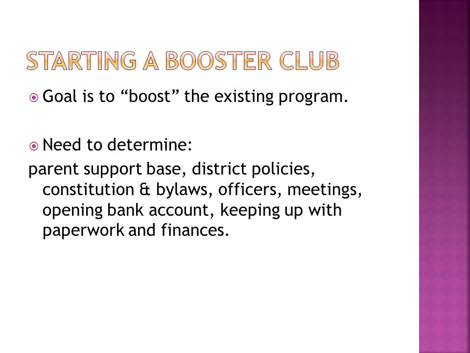Goal is to boost the existing program.