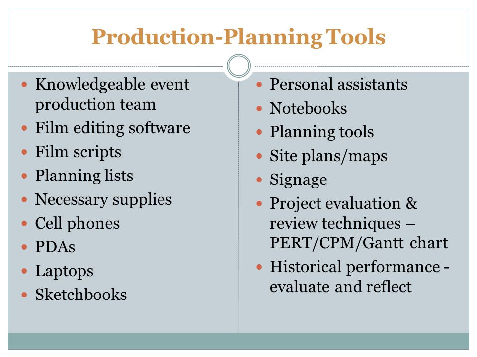 Production-Planning Tools Knowledgeable event production team Film editing software Film scripts Planning lists Necessary supplies Cell phones PDAs Laptops Sketchbooks Personal assistants Notebooks Planning tools Site plans/maps Signage Project evaluation & review techniques – PERT/CPM/Gantt chart Historical performance - evaluate and reflect