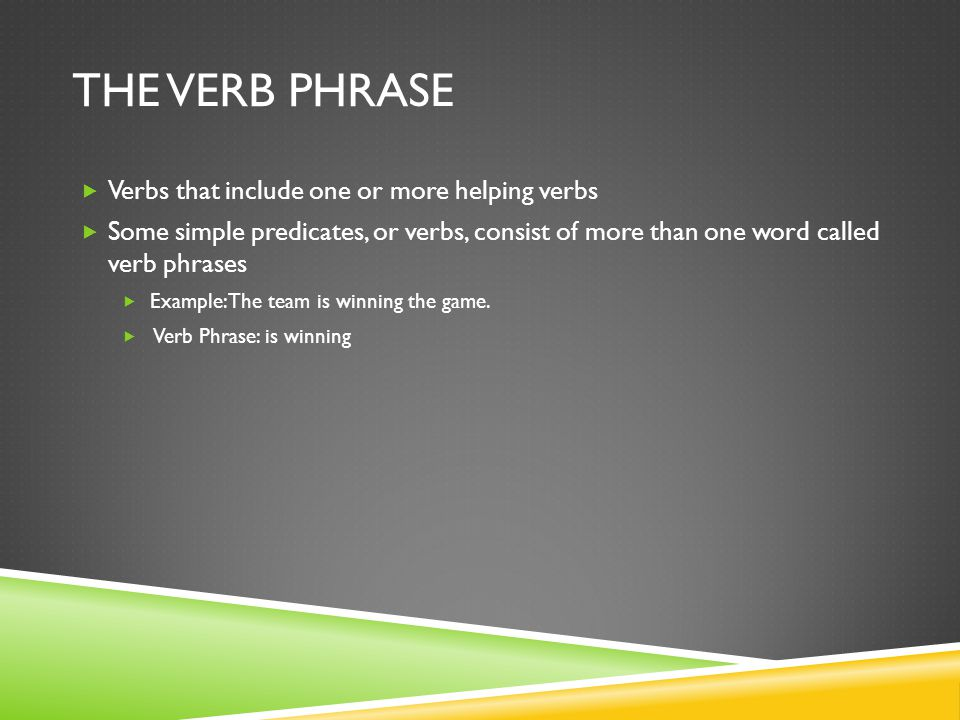 THE VERB PHRASE Verbs that include one or more helping verbs Some simple predicates, or verbs, consist of more than one word called verb phrases Examp