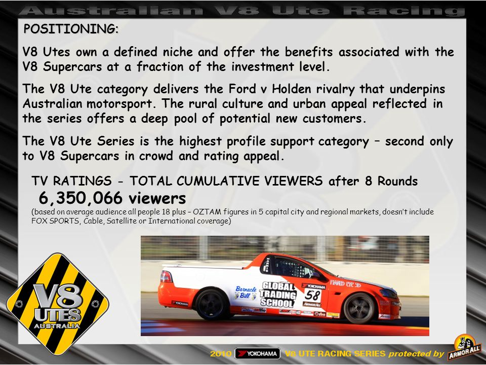 POSITIONING : V8 Utes own a defined niche and offer the benefits associated with the V8 Supercars at a fraction of the investment level.