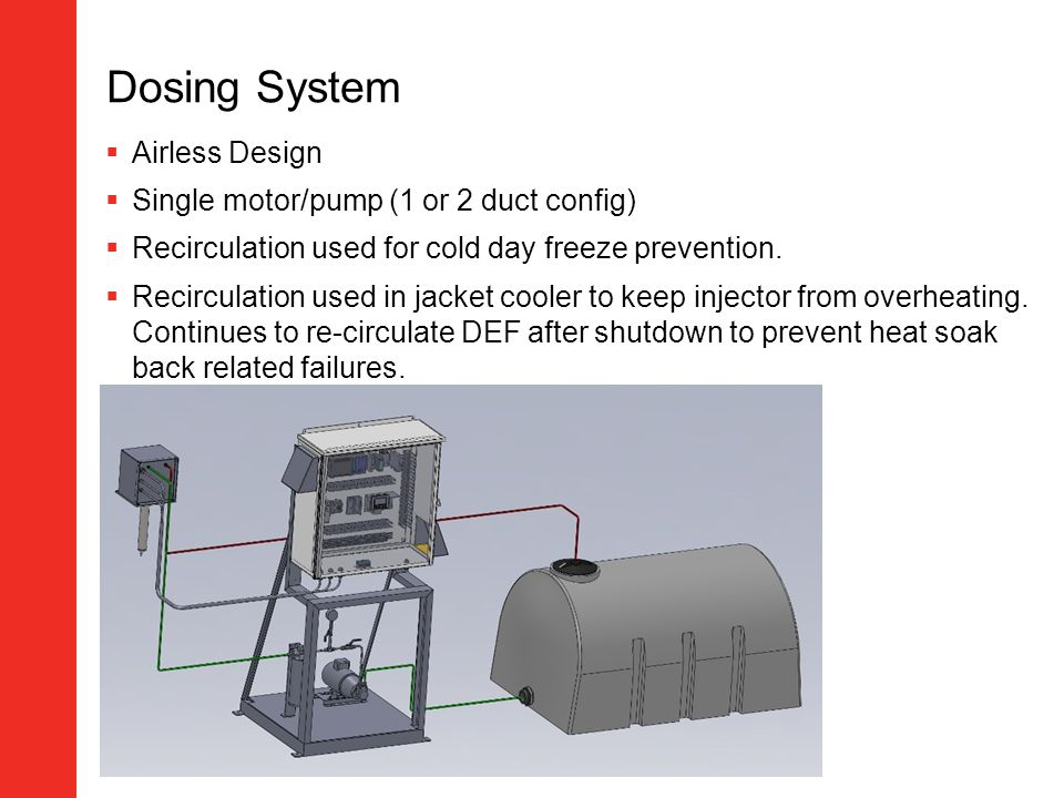 Dosing System Airless Design Single motor/pump (1 or 2 duct config) Recirculation used for cold day freeze prevention. Recirculation used in jacket co