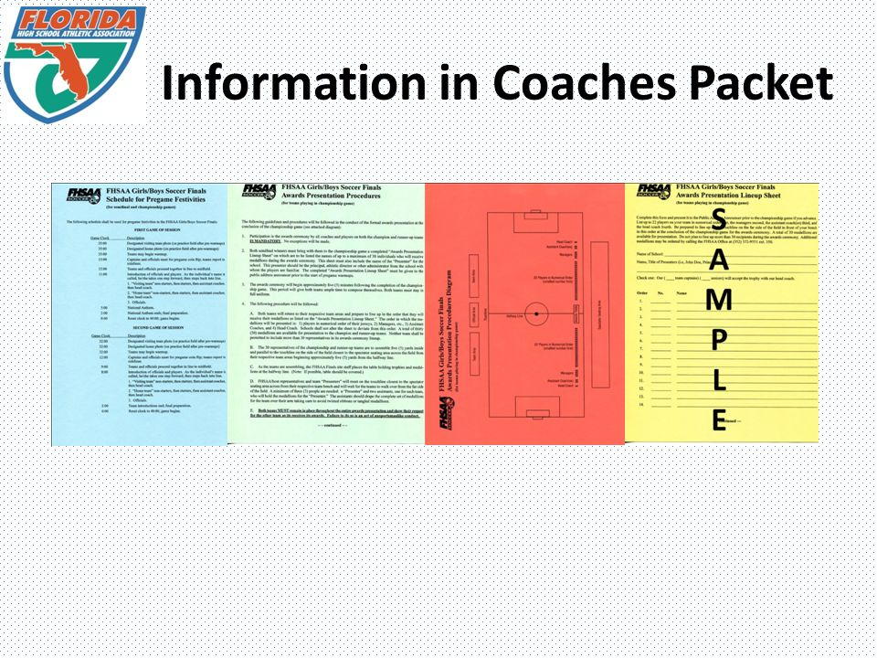 Information in Coaches Packet