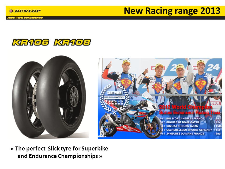 11 New Racing range 2013 « The perfect Slick tyre for Superbike and Endurance Championships »