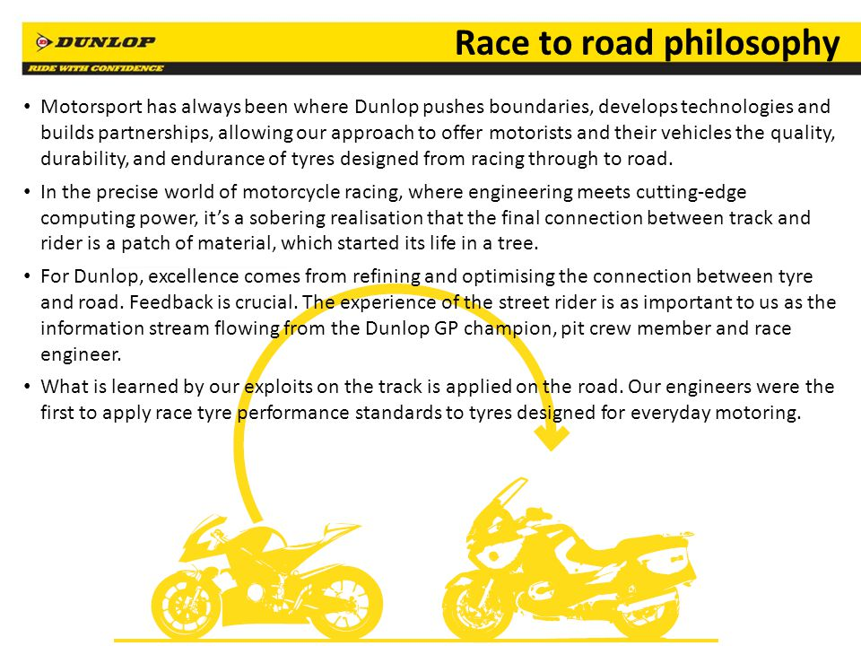 22 Race to road philosophy Motorsport has always been where Dunlop pushes boundaries, develops technologies and builds partnerships, allowing our approach to offer motorists and their vehicles the quality, durability, and endurance of tyres designed from racing through to road.