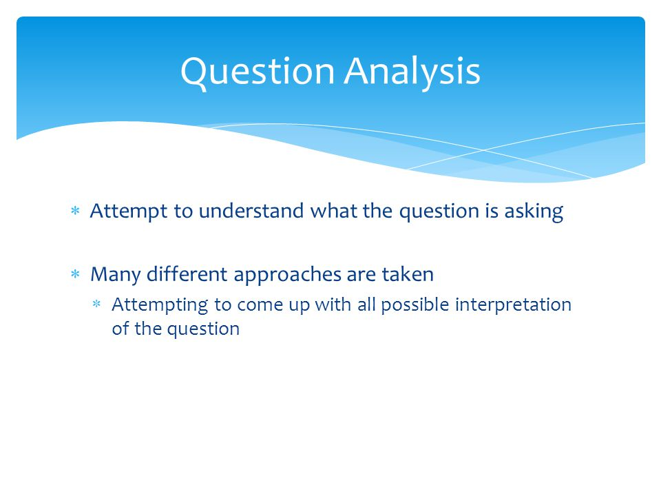 Primary Search – Attempt to come up with as much answer content as possible from sources Various search techniques 85% of time correct answer within top 250 at this stage Candidate Answer Generation – Use appropriate techniques to extract answer from content Filter – Lightweight scoring of candidate answers ~100 answers let through Hypothesis Generation