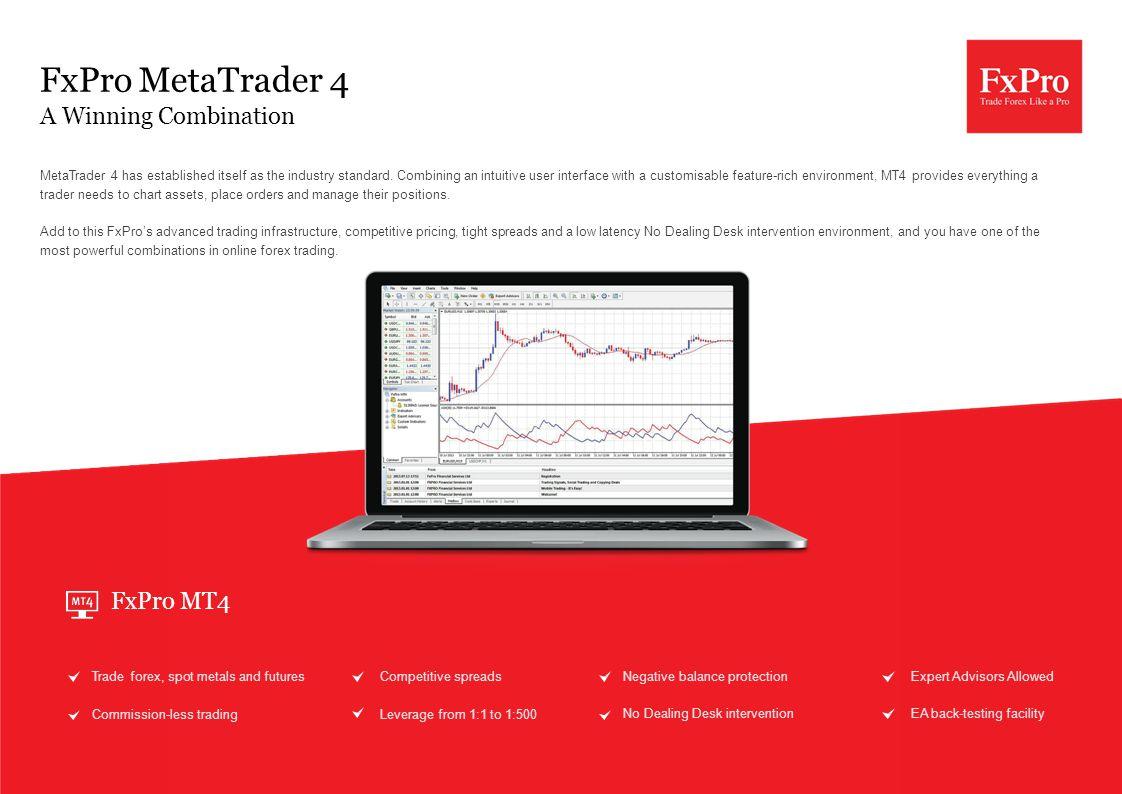 FxPro MetaTrader 4 A Winning Combination MetaTrader 4 has established itself as the industry standard.