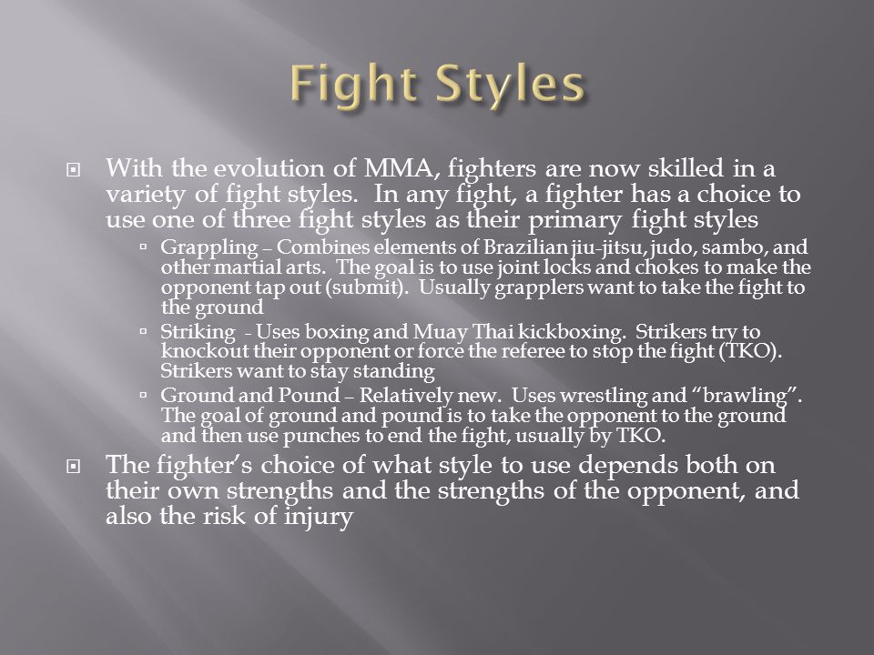 The three fight styles correspond to three strategies that each fighter has, resulting in a 3x3 game matrix The payoffs are based on three primary factors: the offensive strength of the fighter in the style, the defensive strength of his opponent in the style, and the injury risk from the combination of the styles