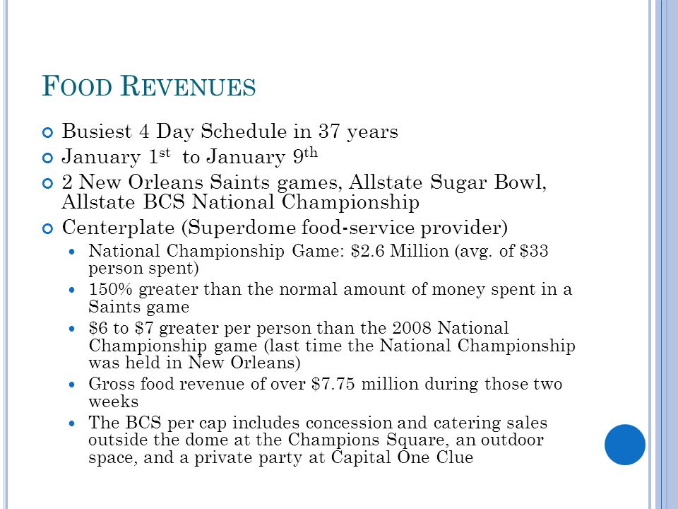 F OOD R EVENUES Busiest 4 Day Schedule in 37 years January 1 st to January 9 th 2 New Orleans Saints games, Allstate Sugar Bowl, Allstate BCS National Championship Centerplate (Superdome food-service provider) National Championship Game: $2.6 Million (avg.