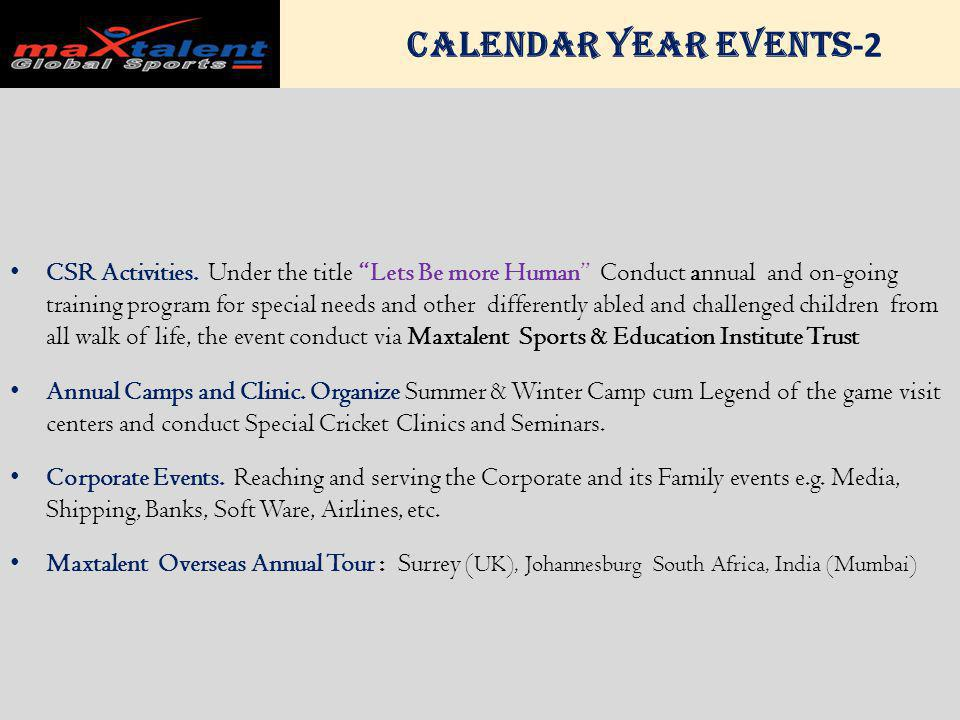 Calendar Year Events -2 CSR Activities.