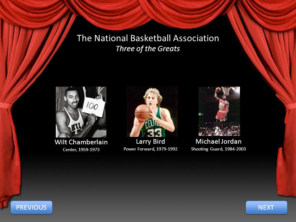 The National Basketball Association Three of the Greats Wilt Chamberlain Center, 1959-1973 Larry Bird Power Forward, 1979-1992 Michael Jordan Shooting Guard, 1984-2003 PREVIOUS NEXT