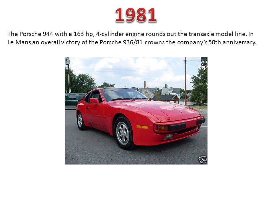 The Porsche 944 with a 163 hp, 4-cylinder engine rounds out the transaxle model line. In Le Mans an overall victory of the Porsche 936/81 crowns the c