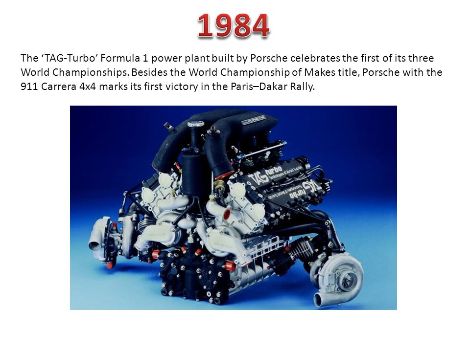 The TAG-Turbo Formula 1 power plant built by Porsche celebrates the first of its three World Championships.