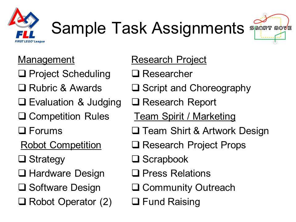 Management Project Scheduling Rubric & Awards Evaluation & Judging Competition Rules Forums Robot Competition Strategy Hardware Design Software Design Robot Operator (2) Research Project Researcher Script and Choreography Research Report Team Spirit / Marketing Team Shirt & Artwork Design Research Project Props Scrapbook Press Relations Community Outreach Fund Raising Sample Task Assignments