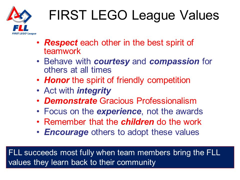 FIRST LEGO League Values Respect each other in the best spirit of teamwork Behave with courtesy and compassion for others at all times Honor the spirit of friendly competition Act with integrity Demonstrate Gracious Professionalism Focus on the experience, not the awards Remember that the children do the work Encourage others to adopt these values FLL succeeds most fully when team members bring the FLL values they learn back to their community