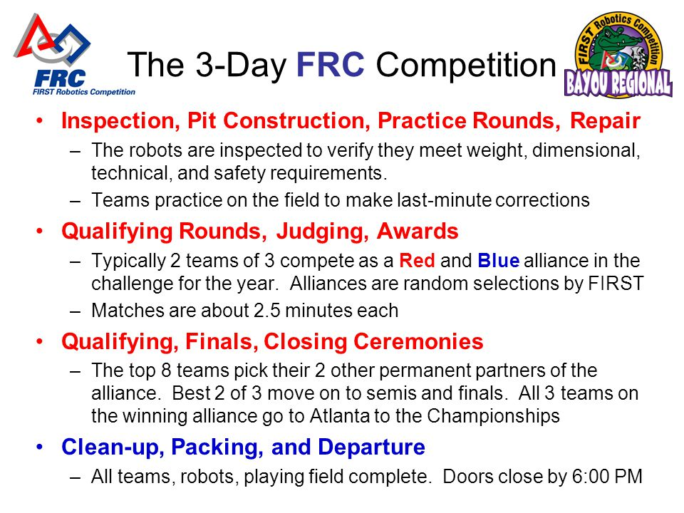 The 3-Day FRC Competition Inspection, Pit Construction, Practice Rounds, Repair –The robots are inspected to verify they meet weight, dimensional, technical, and safety requirements.