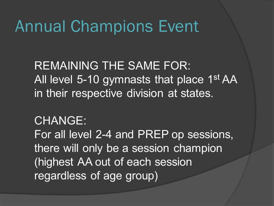 Annual Champions Event REMAINING THE SAME FOR: All level 5-10 gymnasts that place 1 st AA in their respective division at states.